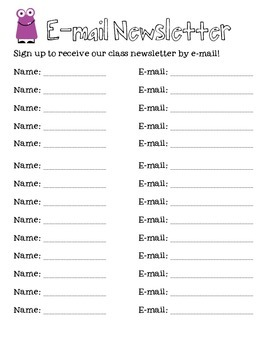 Email Newsletter Sign-up Sheet for Open House/Back To Scho
