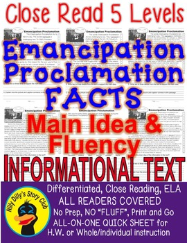 Emancipation Proclamation CLOSE READING LEVELED PASSAGES Main Idea Fluency TDQs