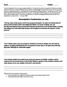 Emancipation Proclamation Interpretation Worksheet