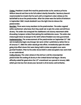 Emancipation Proclamation - Lincoln Review Lesson Questions Facts