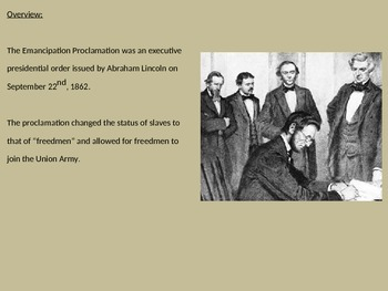 Emancipation Proclamation - Power Point History Review Facts Lincoln Pictures