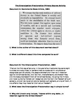 Emancipation Proclamation Primary Source DBQ