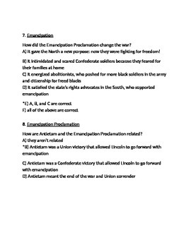 Emancipation Proclamation Test