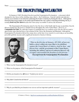 emancipation proclamation worksheet by students of history tpt. Black Bedroom Furniture Sets. Home Design Ideas