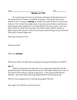 Jefferson Embargo Act WKSHT:Adaptive Primary Source,Questions,Dialogue and Key