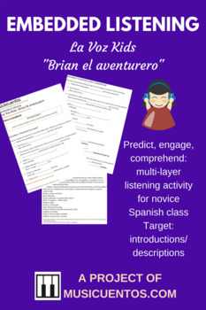 Embedded Listening La Voz Kids Spanish Novice introductions/description activity