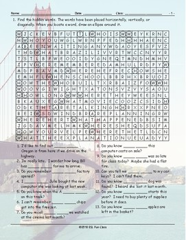 Embedded Questions Word Search Worksheet