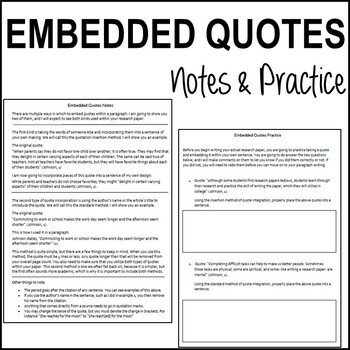 Embedding Quotes Worksheets & Teaching Resources | TpT