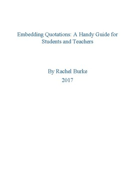 Embedding Quotations: A Painless Quick Fix for Students