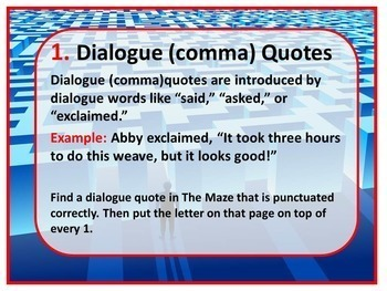 Embedding Quotations: Dialogue (comma), Flow, and Colon Quotes Kinesthetic Maze