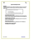 Embedding Quotations - Worksheet
