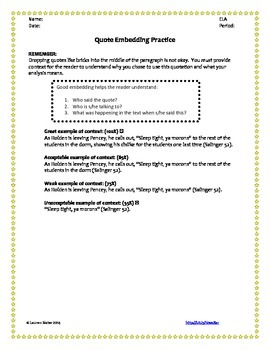 Embedding Quotations - Worksheet by Slaters English Store | TpT