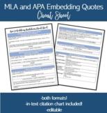 Embedding Quotes Cheat Sheet-MLA and APA, both formats!
