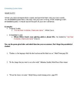 Embedding Quotes Worksheet | Teachers Pay Teachers