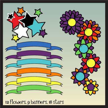 Embellishments Mega Pack: Banners, Flowers, Stars, & Butterflies(Commercial Use)