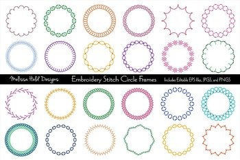Clipart: Embroidered Circle Frames Clip Art