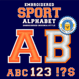 Embroidered Sports Alphabet - Orange and White - 2 styles