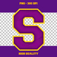 Embroidered Sports Alphabet - Purple and Yellow (Gold)