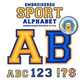 Embroidered Sports Alphabet - Yellow and Blue - 2 style