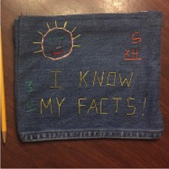 Embroidered denim bag for math multiplication flash cards review