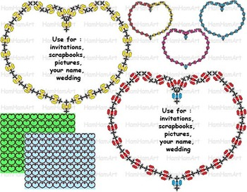 Embroidered heart frames wedding invitation party school  baby boy girl -020-