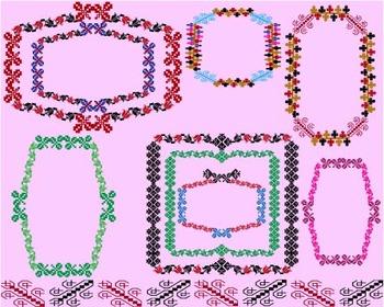 Embroidery national wedding invitation Clip Art postcard borders frames -015-