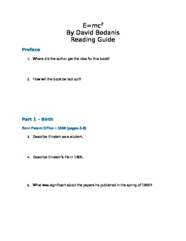 E=mc2 by David Bodanis Student Reading Guide