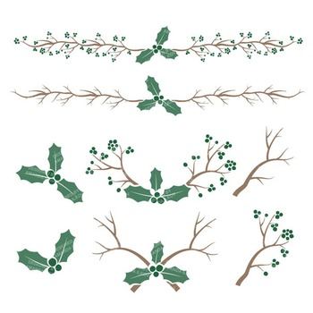 Emerald Christmas Holly Clipart