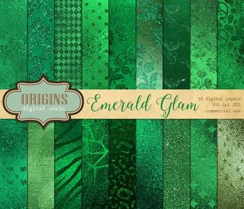 Emerald Green Glam Metallic foil glitter digital paper backgrounds textures