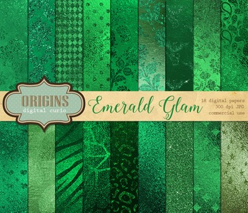 Emerald Green Glam Metallic foil glitter digital paper bac