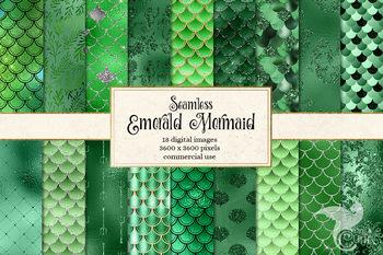 Emerald Green Mermaid Scales digital paper, seamless patterns