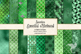 Emerald Green Mermaid Scales digital paper, seamless patterns