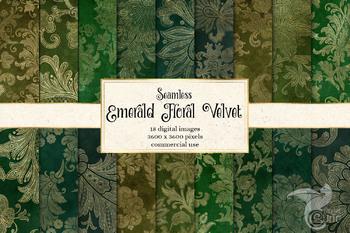 Emerald Green And Gold Floral Velvet Digital Paper Textures Backgrounds