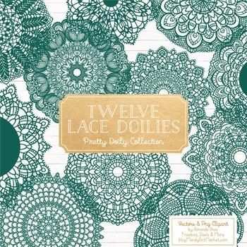 Emerald Round Lace Doilies - Lace Doily, Vintage Doilies
