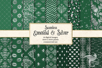 Emerald and Silver digital paper, seamless silver and green patterns