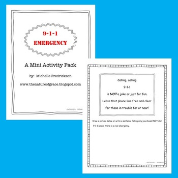 Emergency 9-1-1 Mini Activity Pack (Lesson Plan Ideas)
