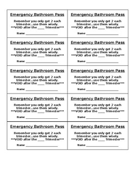 Emergency Bathroom Pass