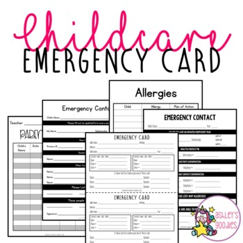 Emergency Card Packet for Schools and Childcare