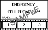 Emergency Cell Phone Use Punch Cards - Movie Themed
