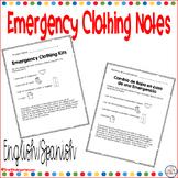 Emergency Clothing Kit Notes