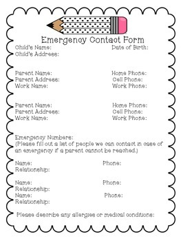 emergency contact form by shine bright in first grade tpt