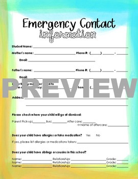 emergency contact teaching resources teachers pay teachers