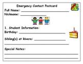 Emergency Contact Postcard