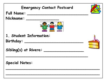 Emergency Contact Postcard