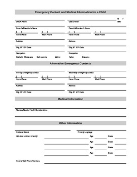 Emergency Contact and Medical Information Form