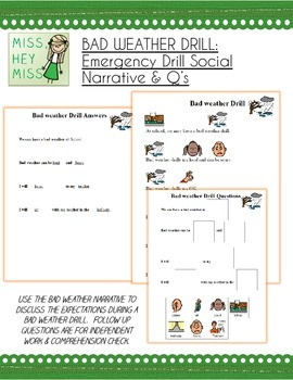 BAD WEATHER DRILL: Emergency Drill Social Narrative & Qs