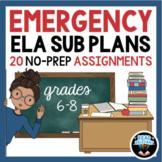 Emergency ELA Sub Plans: 20 No-Prep Assignments, Grades 6-8