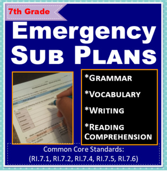 ELA: Emergency Sub Plans - 7th Grade