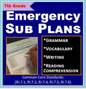 ELA: Emergency Sub Plans - 7th Grade