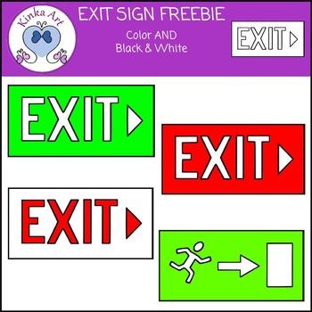 Emergency Exit Sign Clip Art FREEBIE